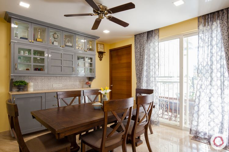 3bhk in pune-grey crockery cabinet-wooden dinings set
