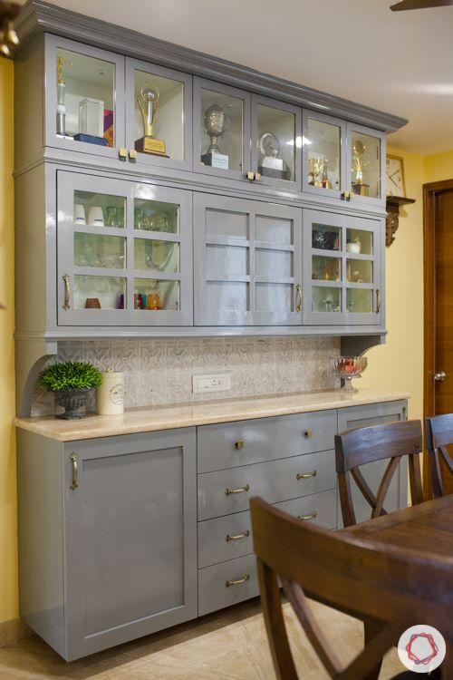 3bhk in pune-pu finish cabinet-grey crockery cabinet