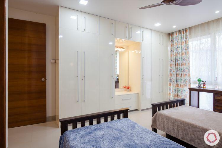 3bhk in pune-white wardrobe designs-wardrobe with dresser
