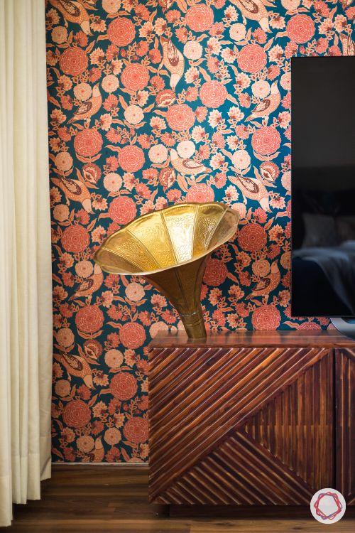 indian home decor ideas-sabyasachi wallpaper-gramaphone
