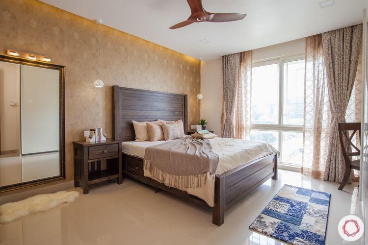 3bhk in pune-beige wallpaper designs-framed mirror design