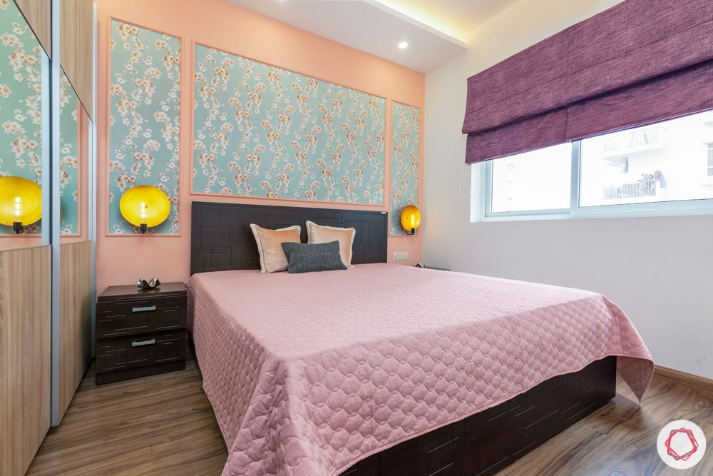 3 bhk interior design-Parents Bedroom-baby pink wall-blue floral wallpaper-mirror panel wardrobe