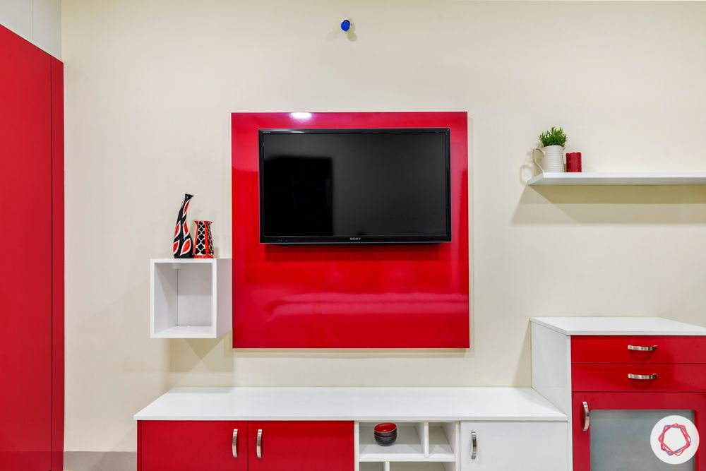 madhavaram serenity-Master Bedroom-red and white wardrobes-brown bed-Tv unit