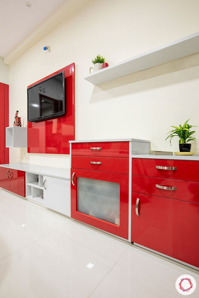 madhavaram serenity-Master Bedroom-red and white wardrobes-brown bed-red cabinets