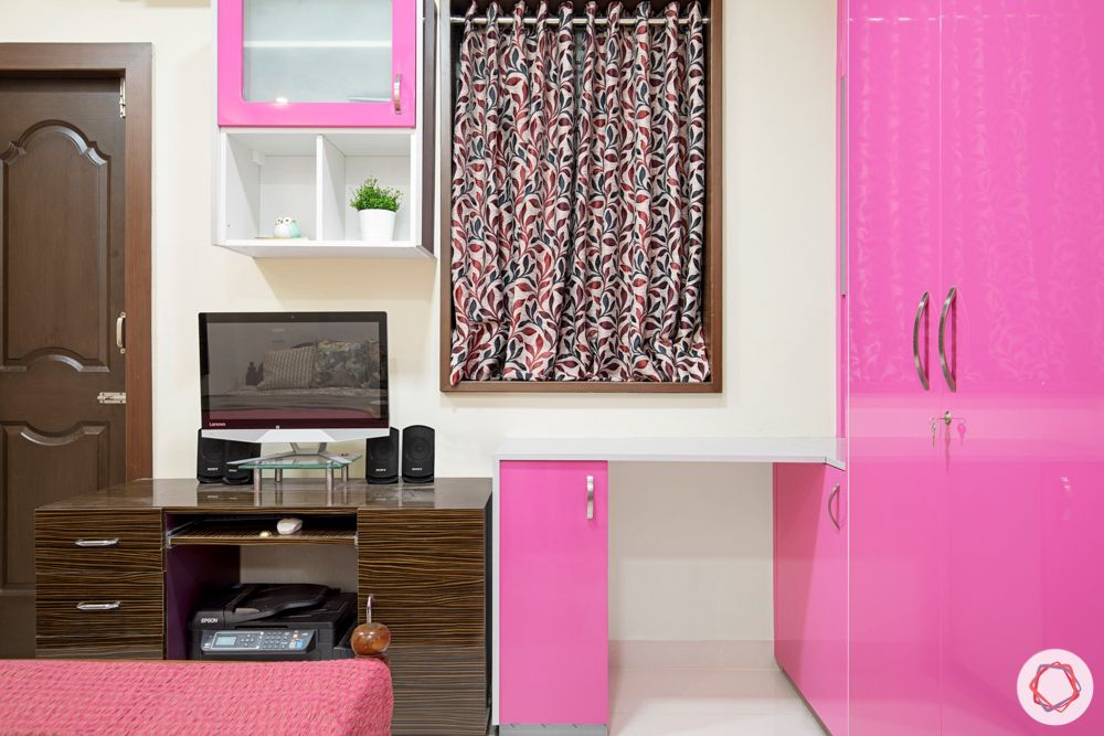 -daughters bedroom-pink and silver wardrobes-frosted cabinets