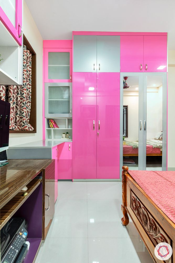 daughters bedroom-pink and silver wardrobes-frosted cabinets