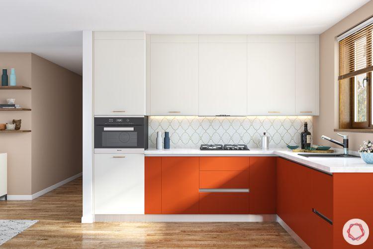 orange kitchen cabinets-white wall cabinets-wooden flooring