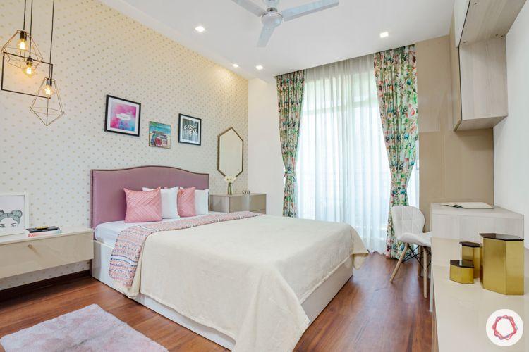pink headboard-wallpaper designs-pendant lighting-kids bedroom
