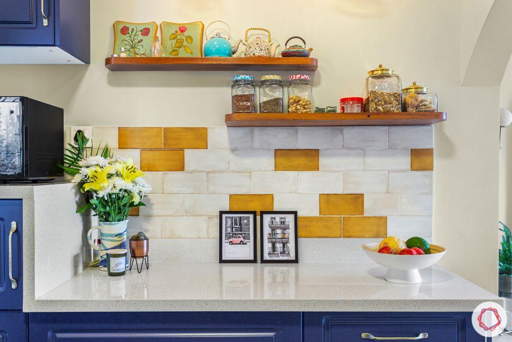 Kitchen trends 2020-patterned brick backsplash-open shelves-countertop