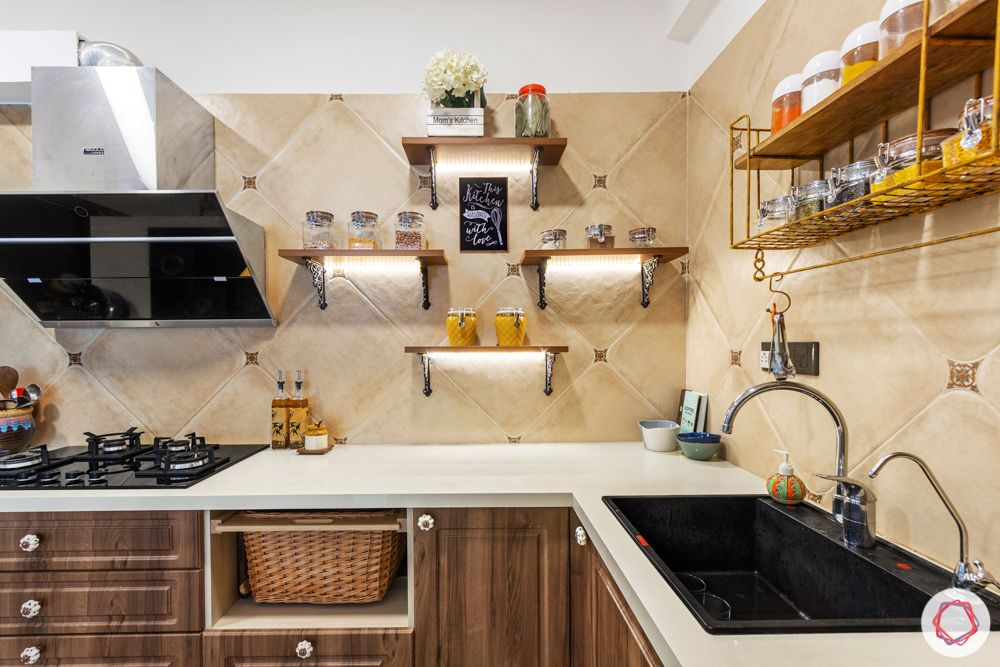 Kitchen trends 2020-kitchen shelves-condiment rack-chimney-backsplash-wicker basket