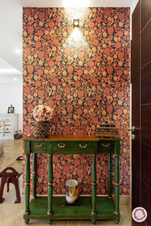 floral wallpaper designs-green console designs