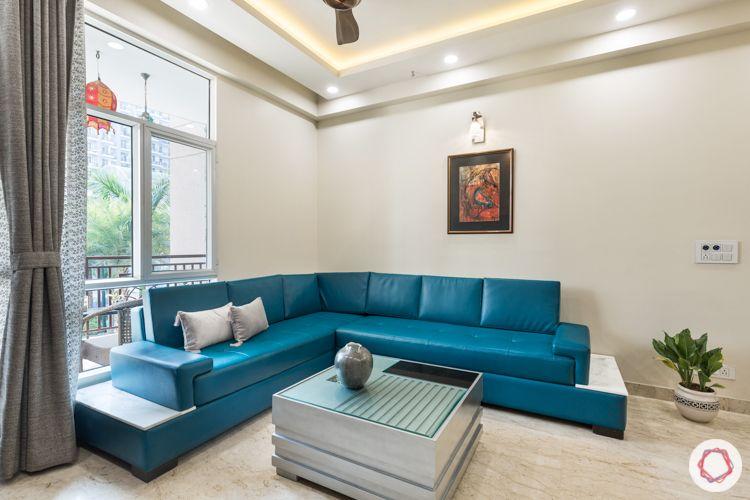 Livspace Noida-turquoise sofa-leatherite-sectioned