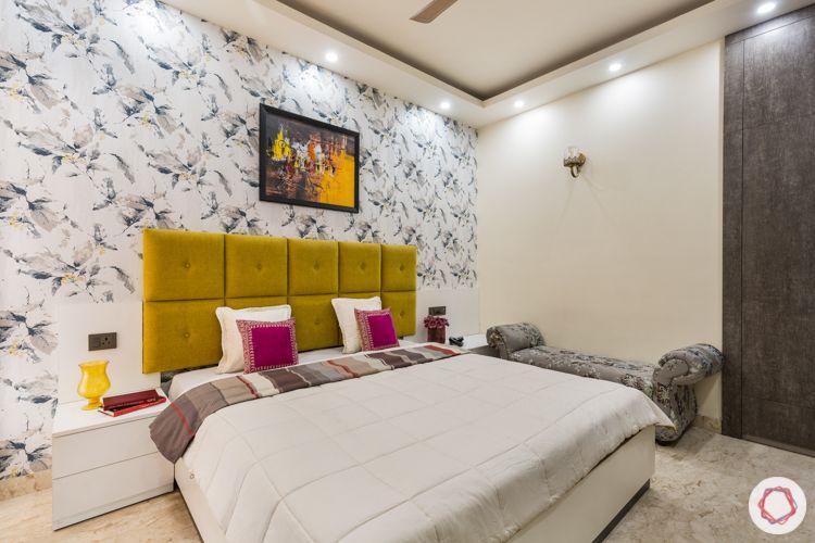 Marigold headboard-neutral room-wallpaper