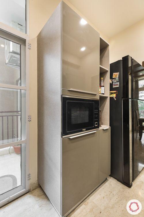 Grey metallic acrylic-tall unit-oven