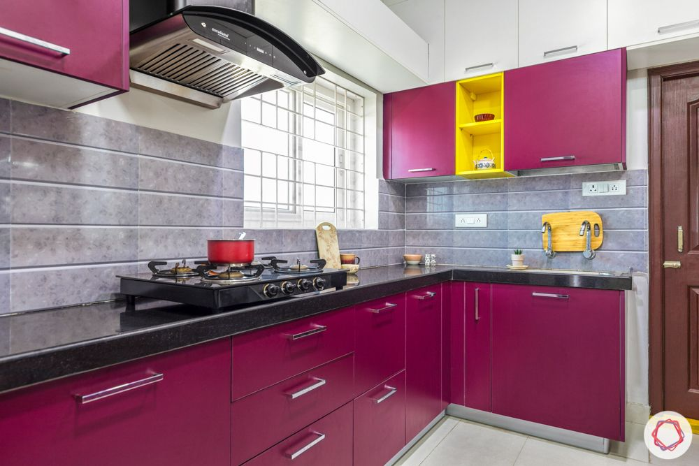 interior design for 3bhk flat-pink kitchen designs-black granite countertop