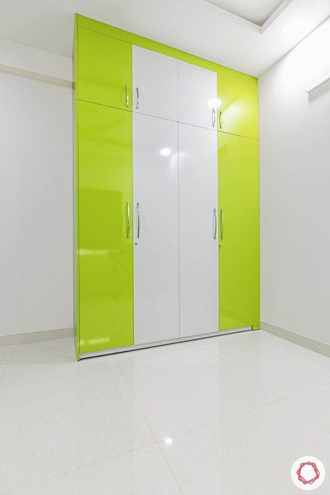 green kitchen designs-kids wardrobe designs