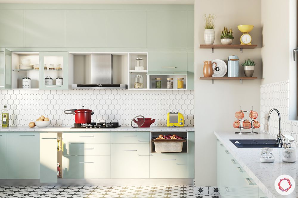 Alia Bhatt house-kitchen layout-mint green cabinets-fridge design-open shelf-wall cabinets-base cabinets