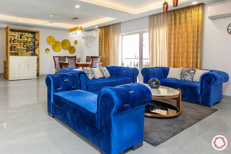 curtain fabric-gold curtain designs-blue sofa designs