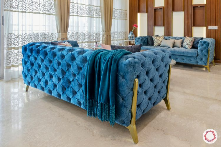 blue sofa designs-sheer curtains