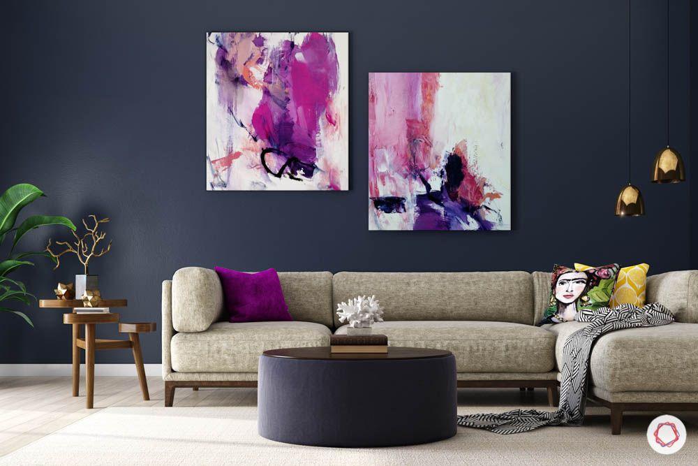 jewel toned interiors-purple artwork-neutral sofa colour-coffee table designs