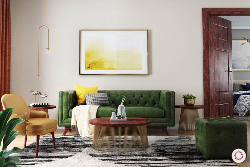 jewel toned interiors-green sofa-carpet designs-pendant lighting