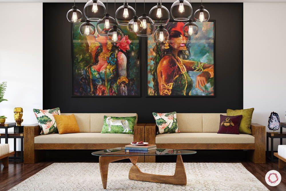jewel toned interiors-artwork-living room sofas-chandelier designs