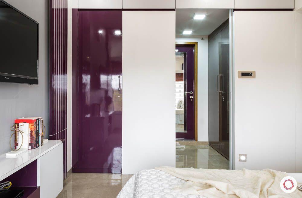 walk in closet-wardrobe designs-purple doors