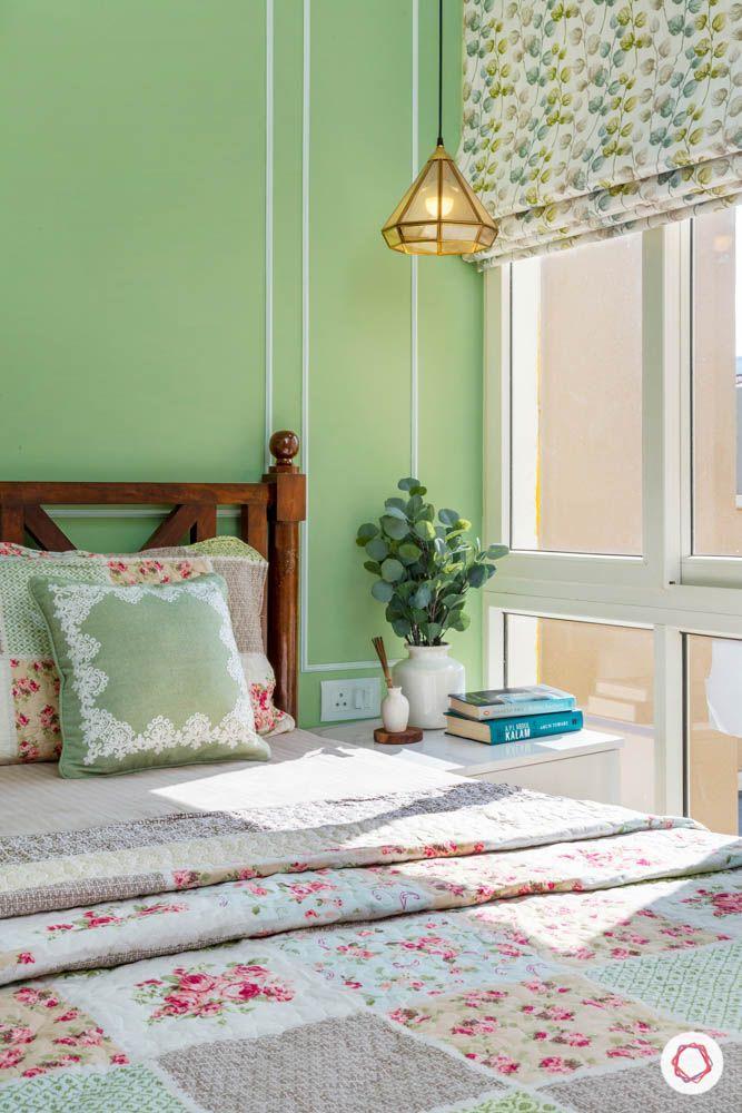 3BHK-design-bedroom-pastel-corner-pendant-light