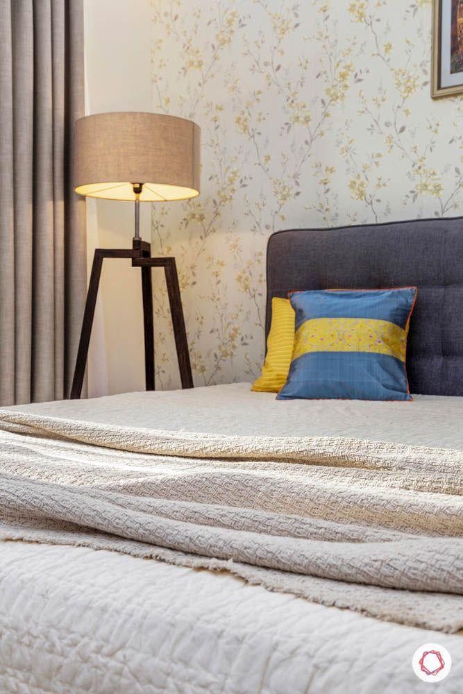 3BHK-design-master-bedroom-lamp-floral-wallpaper