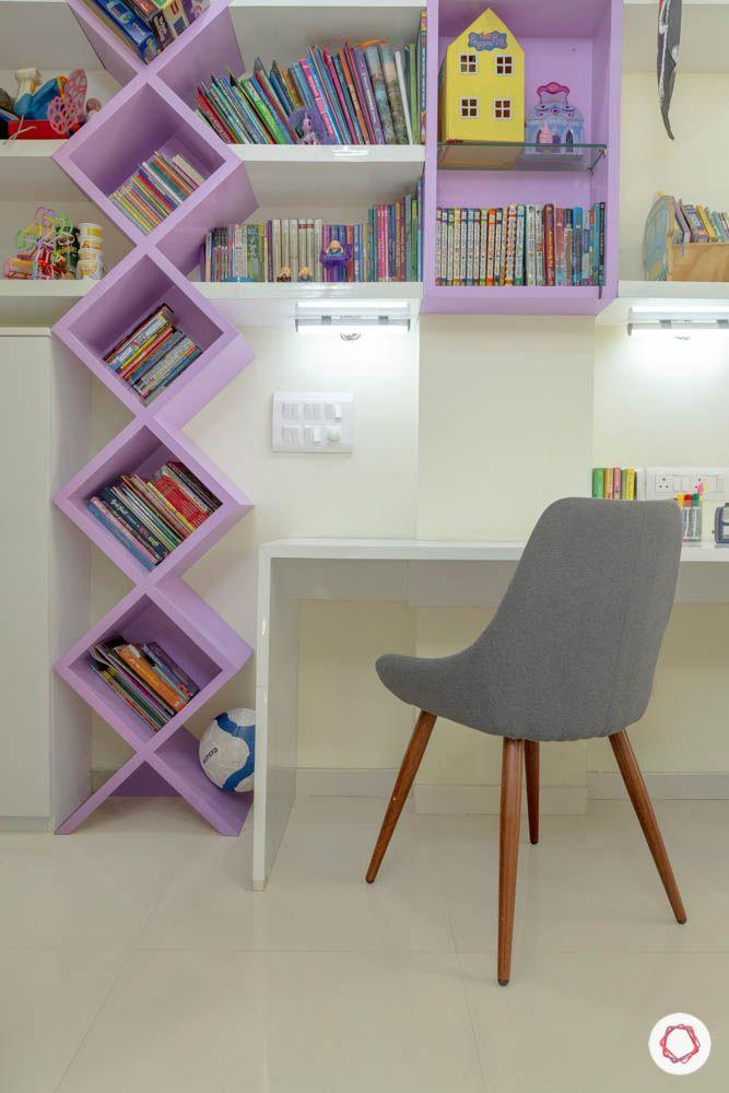 3BHK-design-daughter-bedroom-bokshelf-lilac