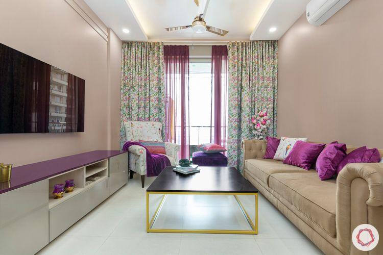 Living room colours-purple living room-beige sofa-sheer curtains