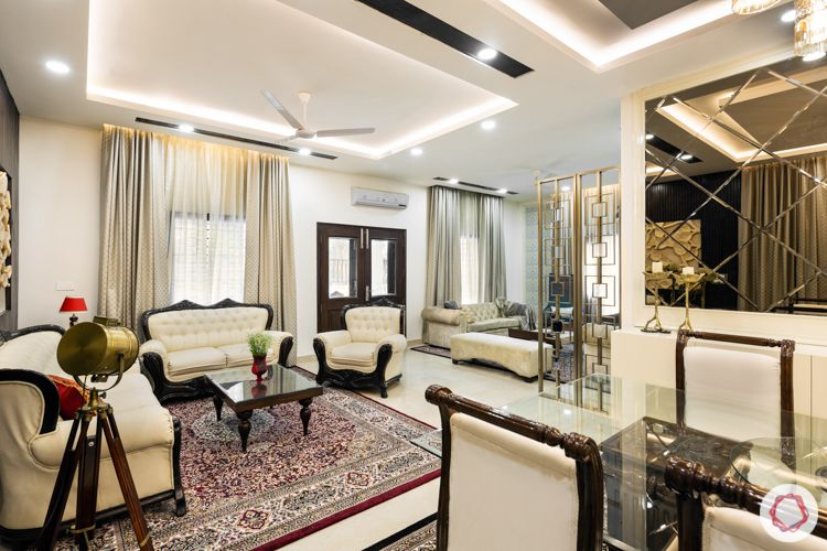 Pearly white living room-sofa-mirrors-dining chairs-mirror panel