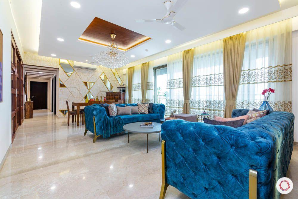 blue sofa-vibrant-velvet-white-interiors