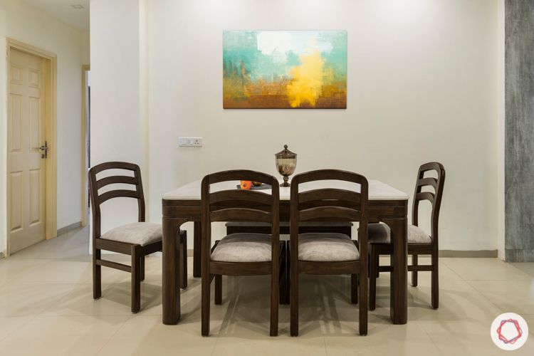 3 bhk apartment-dining room-wooden furniture-upholstered-artwork