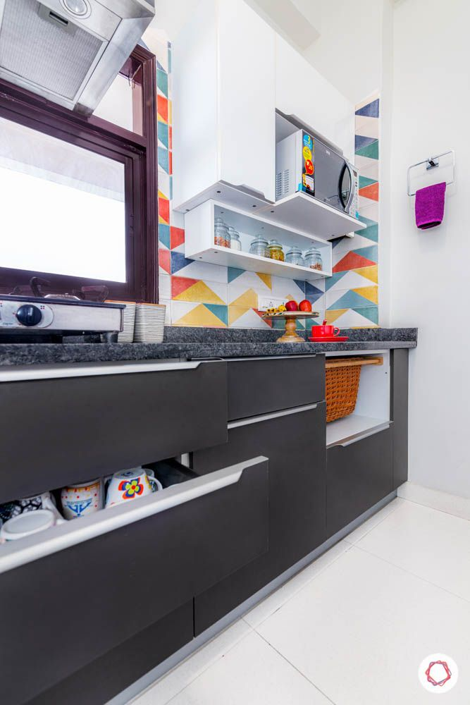 small modular kitchen design-grey kitchen-open storage