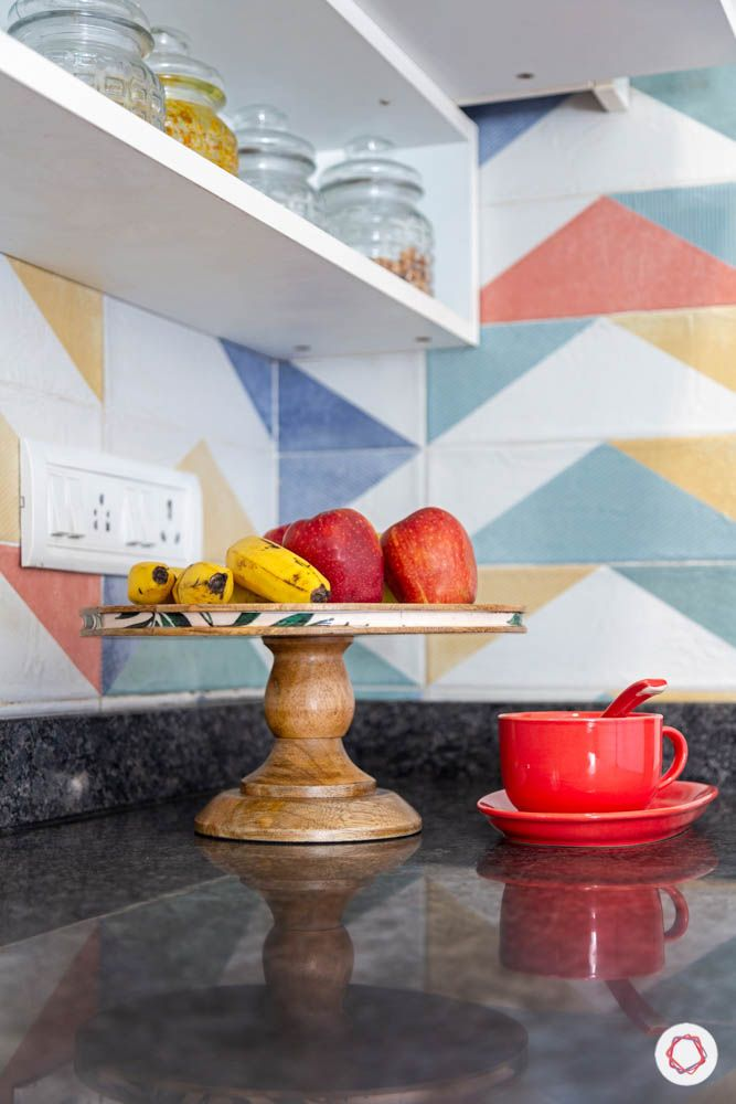 colourful ceramic tiles- granite countertop