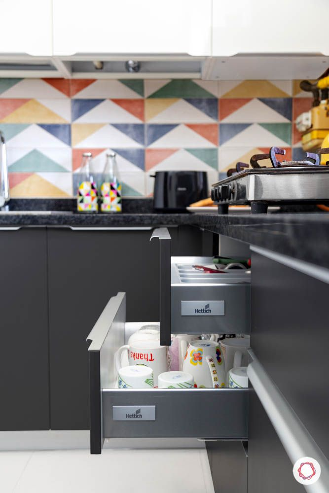 drawer designs-kitchen storage designs-colourful tiles