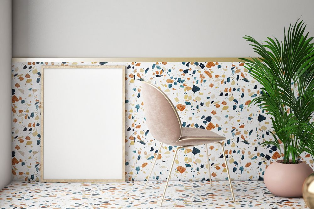 Terrazzo flooring-corner seating-lights-potted plants