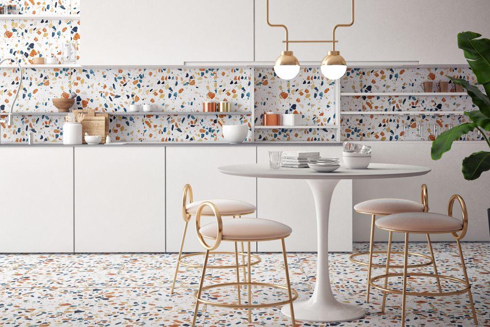 Terrazzo floor-kitchen backsplash-lights
