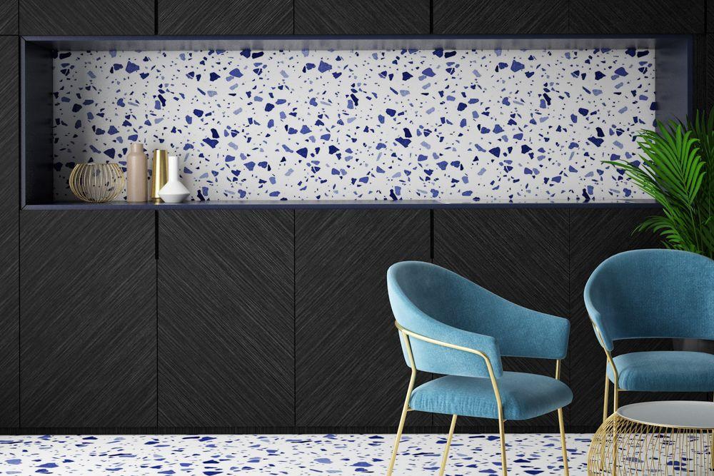 Terrazzo floor-drawing room-blue chair-backsplash