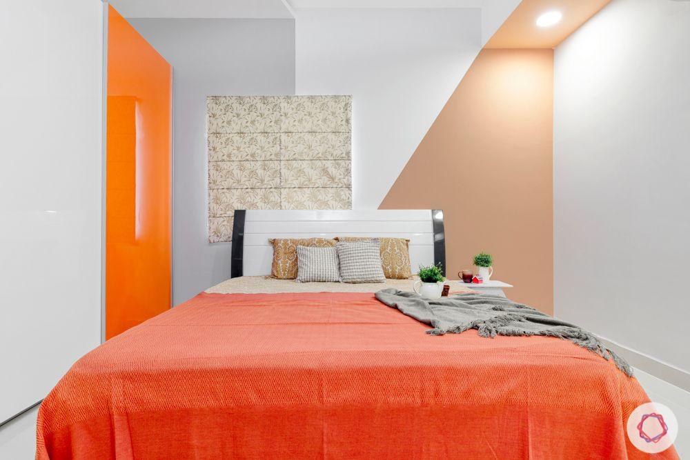 orange and white wardrobe-orange bedding