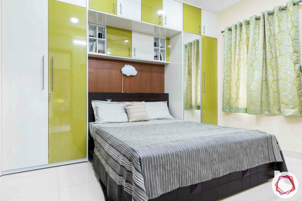 best interior designers in hyderabad-green and white wardrobes-bed-curtains