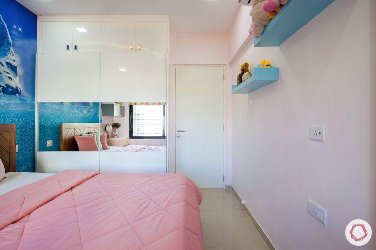blue wallpaper-pink walls-POP ceiling-wooden bed-study unit