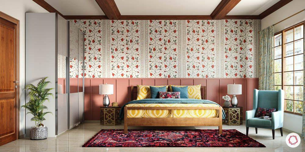 wooden ceiling design-kashmiri rug designs-blue armchair design