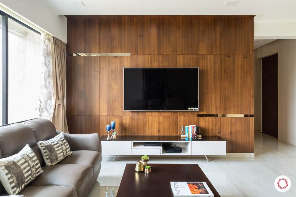wall mounted TV unit-wooden wall-mirror detail-white cabinets