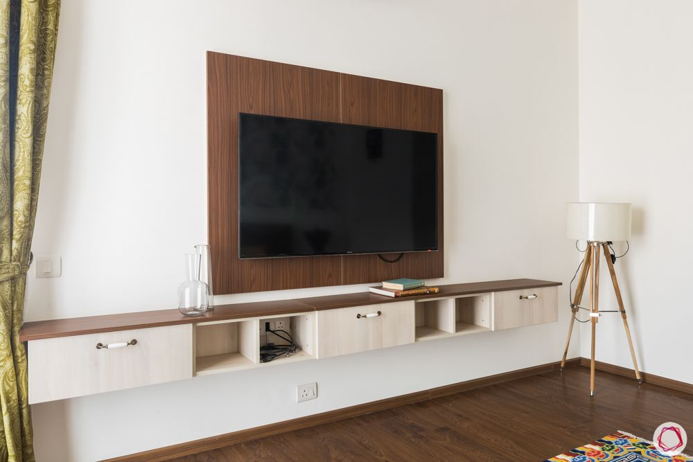 wall mounted TV unit-light wood white unit-floating shelf designs