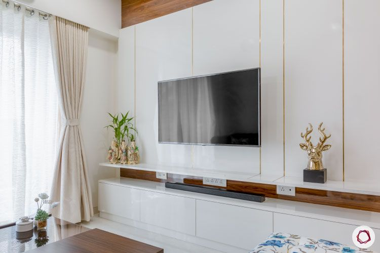 wall mounted TV unit-with with gold trims-wooden and pu unit