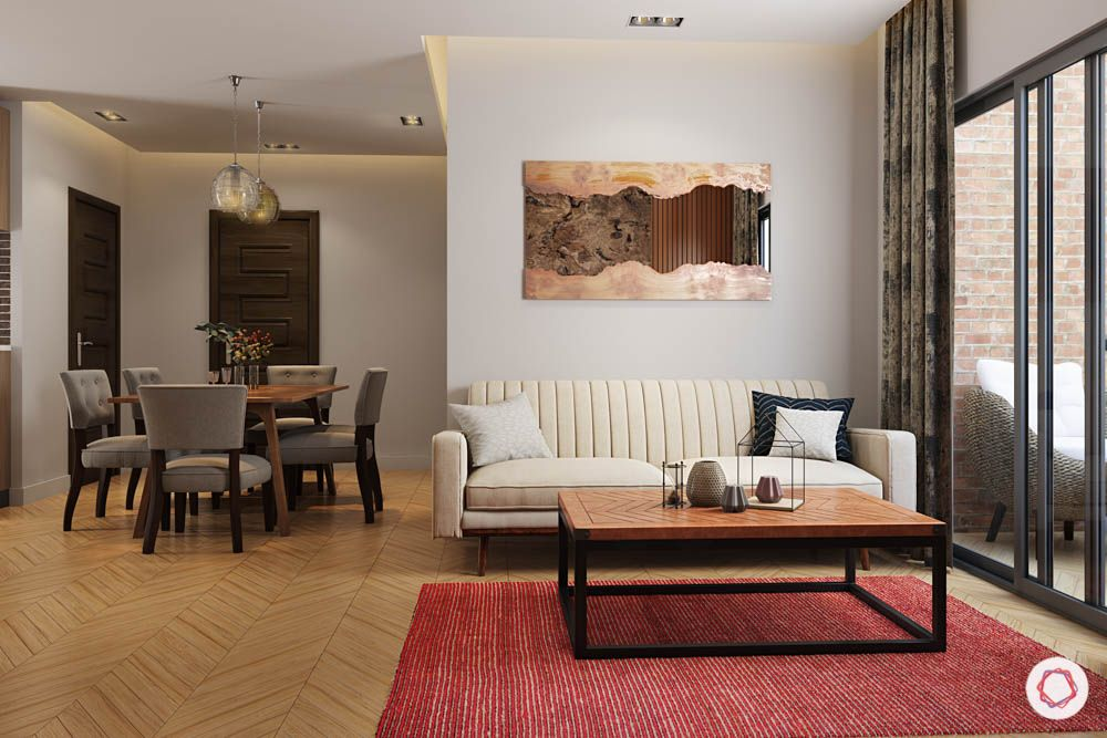 Carpet designs for drawing room-muted red carpet-wooden floor