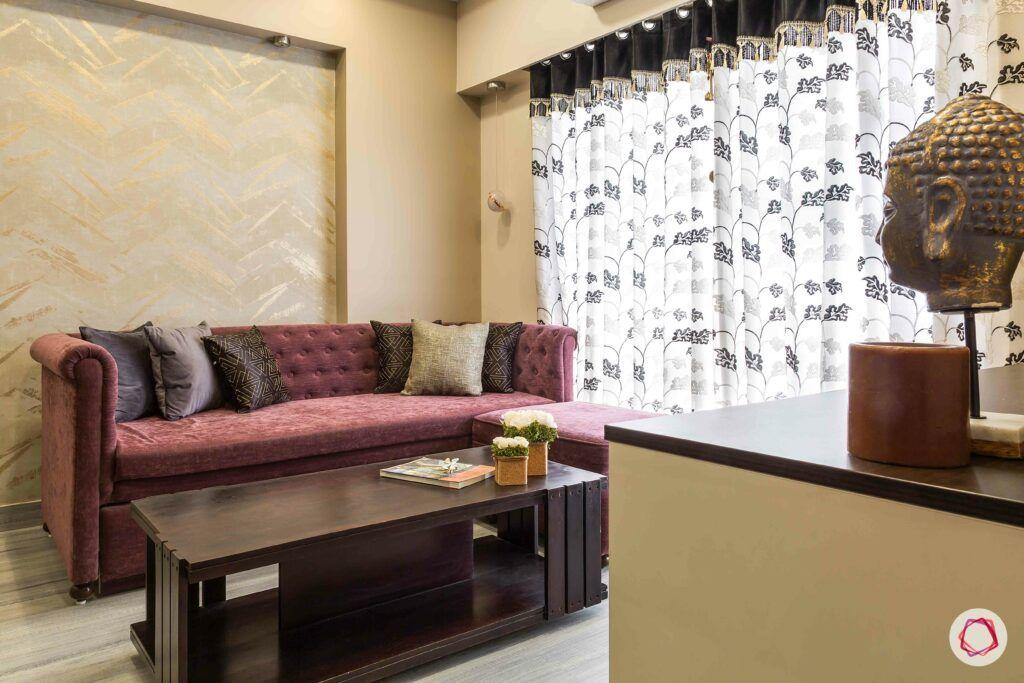 interior design in mumbai-berry coloured couch