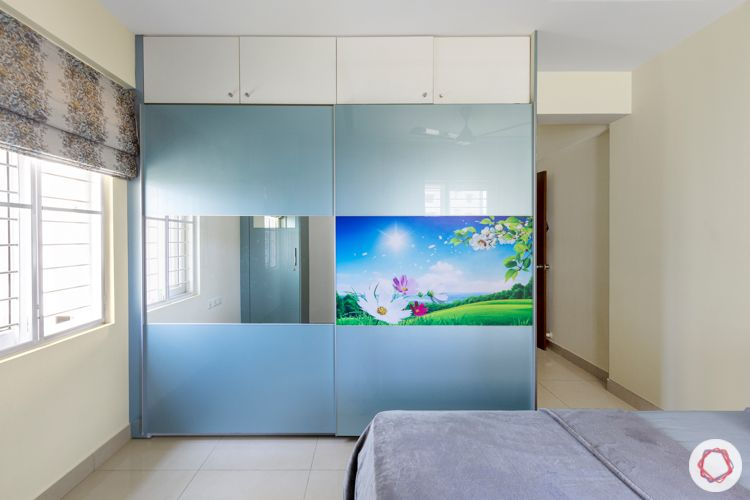 Acrylic wardrobe-mirror panel-pastel blue-white loft-slider wardrobe